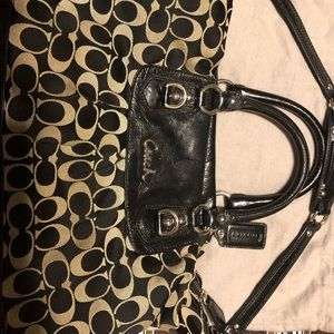Coach purse patent leather and cloth